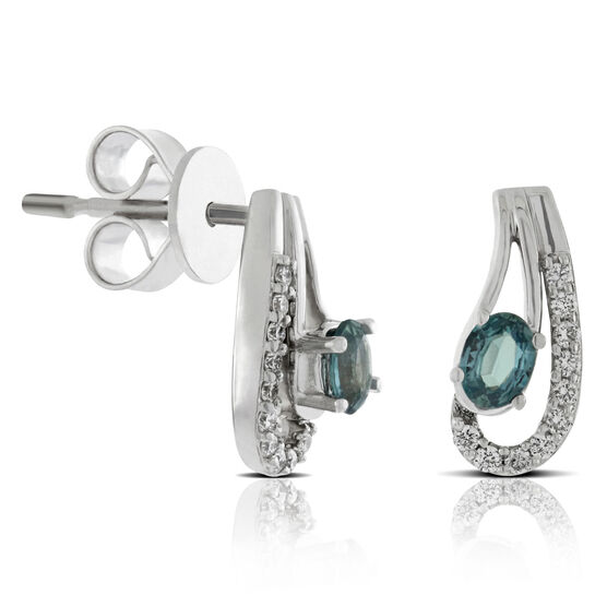 Swirl Alexandrite & Diamond Earrings 18K
