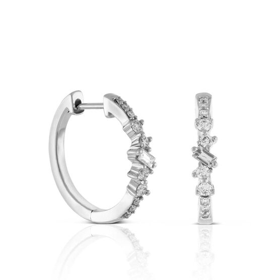 Scattered Baguette & Round Diamond Hoop Earrings 14K