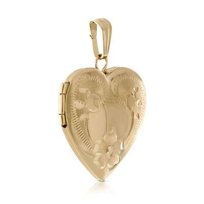 Hand Engraved Roses Heart Locket 14K