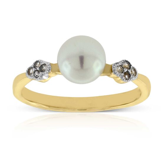 Cultured Pearl & White Sapphire Ring 14K