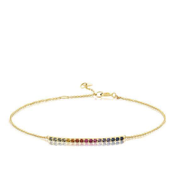 Rainbow Sapphire Bar Bracelet 14K