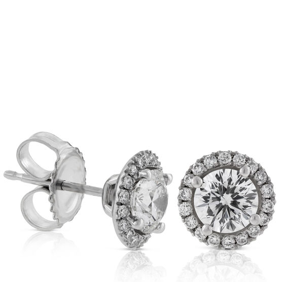 Signature Forevermark Diamond Halo Earrings 18K, 1 ct. Center