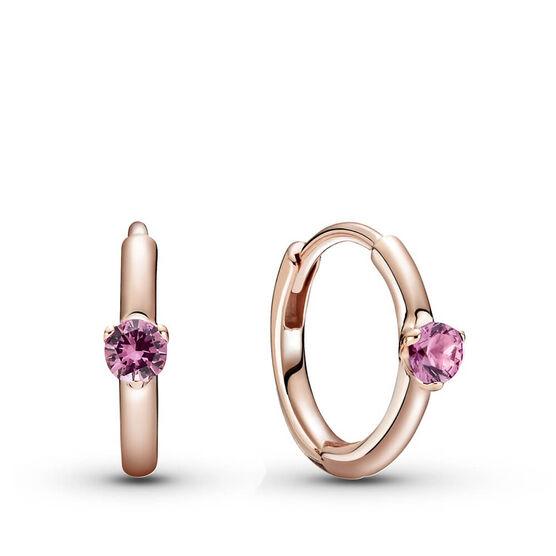 Pandora Rose™ Pink Solitaire Crystal Huggie Hoop Earrings