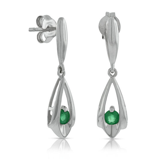 Emerald Teardrop Earrings 14K