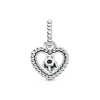 Pandora Sky Blue Crystal Beaded Heart Dangle Charm