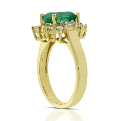 Emerald & Diamond Halo Ring 14K