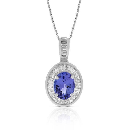 Tanzanite Pendant with Baguette Diamond Halo 14K