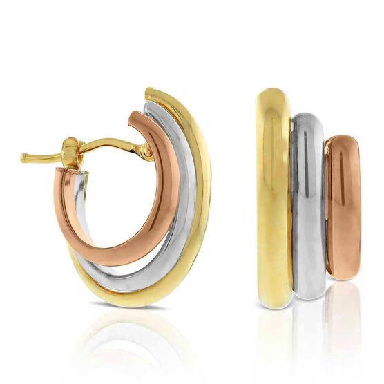 Toscano 3-Tone Hoop Earrings 14K