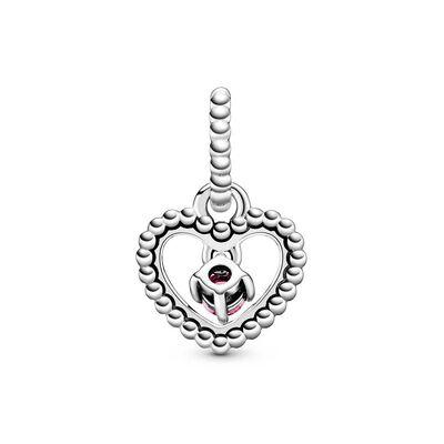Pandora Blazing Red Crystal Beaded Heart Dangle Charm