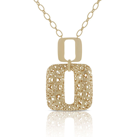 Toscano Open Geometric Drop Necklace 18K