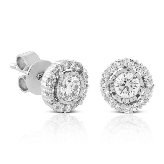Multi-Diamond Halo Earrings 14K