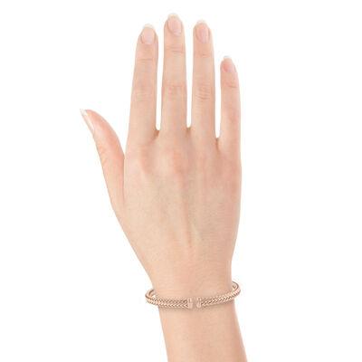 Rose Gold Toscano Woven Cuff Bracelet 14K