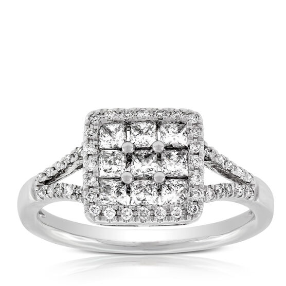 Diamond Mosaic Princess Cut Ring 14K