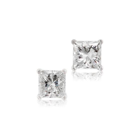 Princess Cut Diamond Earrings 14K, 3/4 ctw.