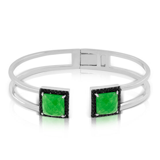 Lisa Bridge Chalcedony & Black Sapphire Bangle