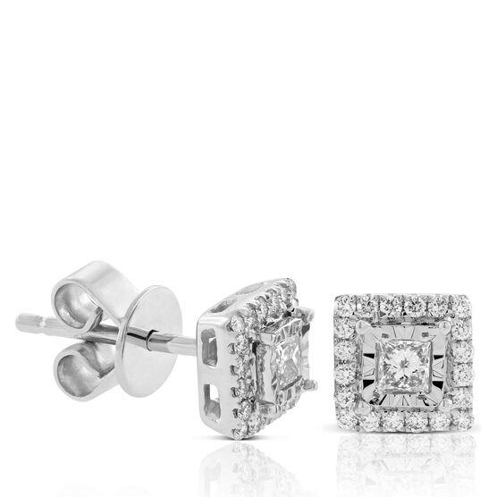 Princess Diamond Halo Earrings 14K