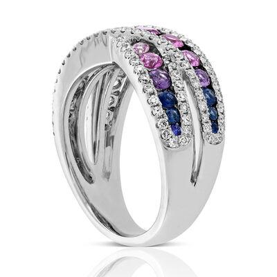 Rainbow Sapphire & Diamond Criss Cross Ring 14K