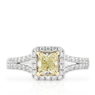 Radiant Cut Yellow Diamond Halo Ring 18K