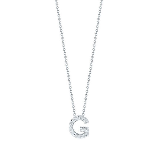 Roberto Coin Tiny Treasures Diamond Initial Pendant 18K Letter 'G'
