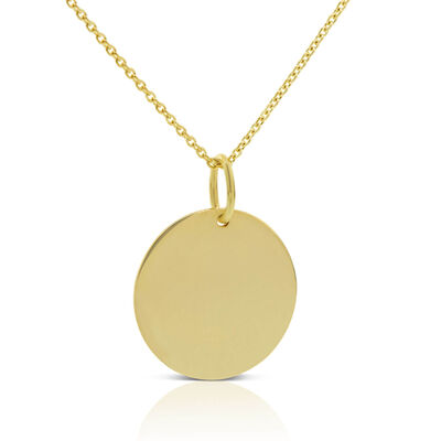 Engravable Disc Necklace 14K