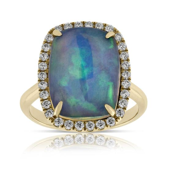 Opal & Diamond Halo Ring 14K