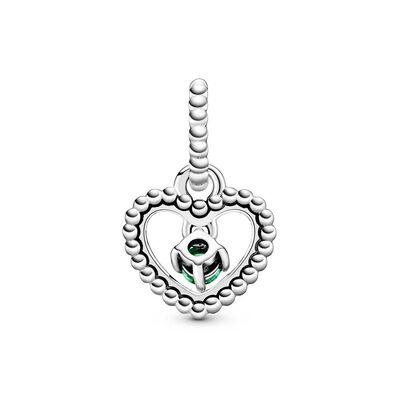 Pandora Rainforest Green Crystal Beaded Heart Dangle Charm