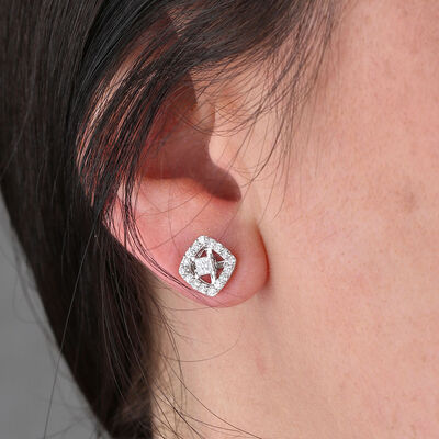 Cushion Shape Diamond Earring Jackets 14K