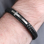 Black Leather Cross with Diamond Bracelet