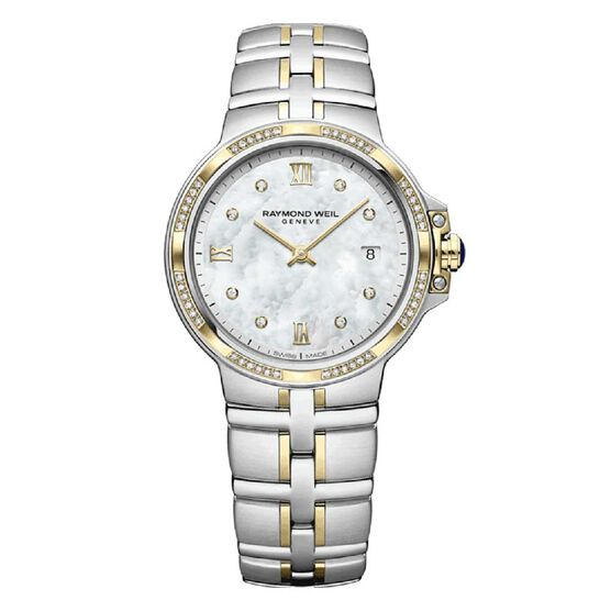 Raymond Weil Parsifal Ladies Two Tone Diamond Dial & Bezel Quartz Watch, 30mm