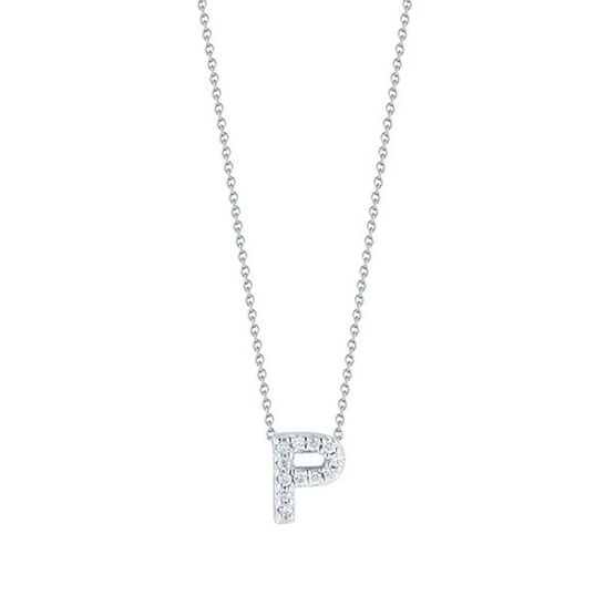 Roberto Coin Tiny Treasures Diamond Initial Pendant 18K Letter 'P'