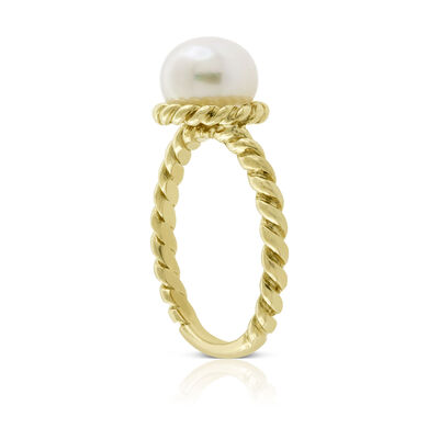 Cultured Freshwater Button Pearl Rope Ring 14K