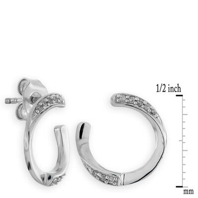 Diamond 'C' earrings 14K