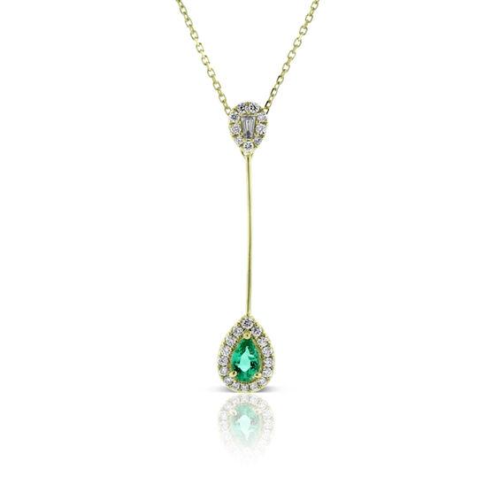 Emerald & Diamond Pear Drop Necklace 14K