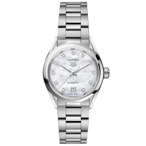 TAG Heuer Carrera Calibre 9 Auto Mother of Pearl Watch, 29mm