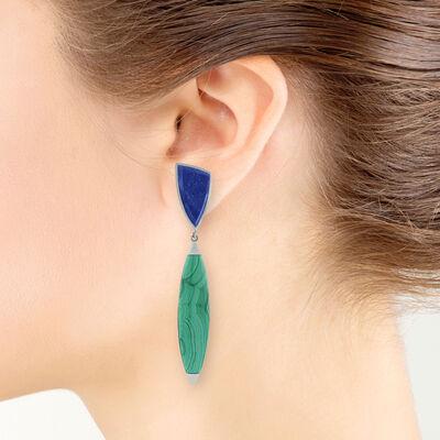 Lisa Bridge Malachite & Lapis Earrings