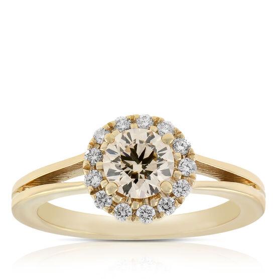 Brown & White Halo Diamond Ring 14K