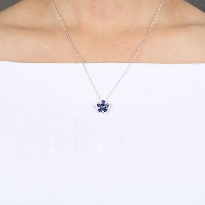 Sapphire & Diamond Flower Necklace 14K