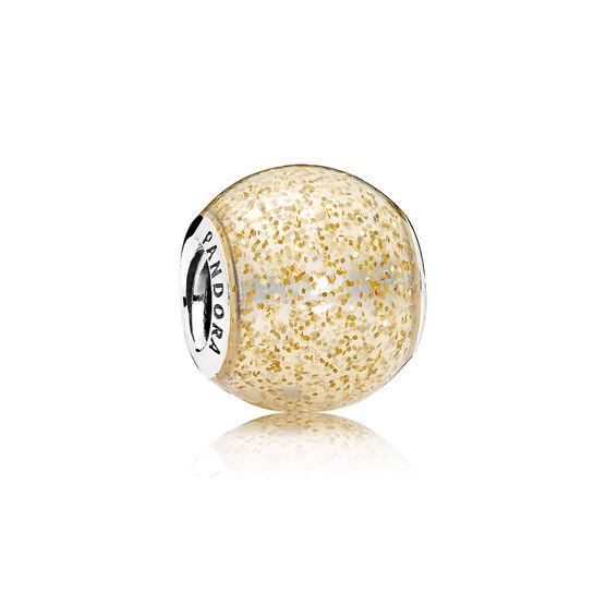 Pandora Golden Enamel Glitter Ball Charm