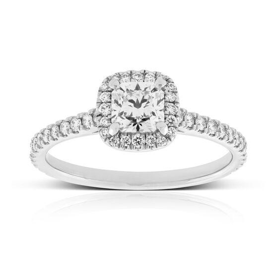 Forevermark Black Label Cushion Cut Diamond Halo Engagement Ring 18K