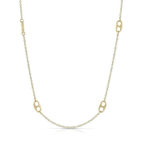 """Toscano Double Eyelet Necklace 14K, 26.5"""""""