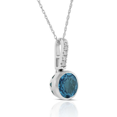 Bezel Set Blue Topaz & Diamond Necklace 14K