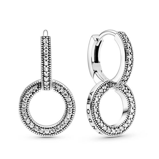Pandora Sparkling Double Hoop CZ Earrings