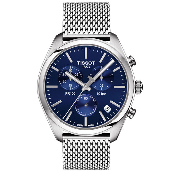 Tissot PR 100 T-Classic Blue Dial Chronograph Watch, 41mm