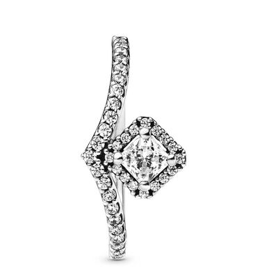 Pandora Square Sparkle Wishbone CZ Ring