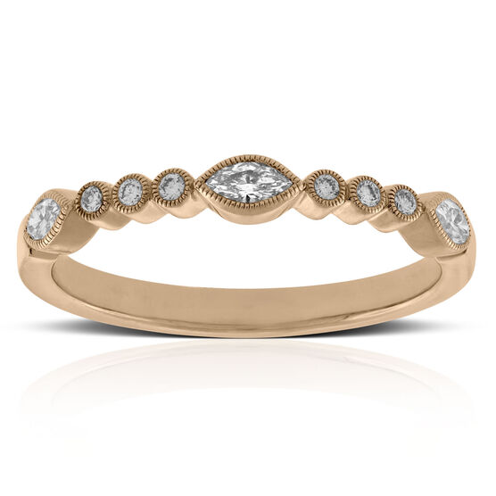 Rose Gold Marquise & Round Cut Diamond Band 14K