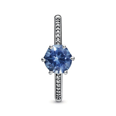 Pandora Wonderland Blue Sparkling Crown Crystal & CZ Ring
