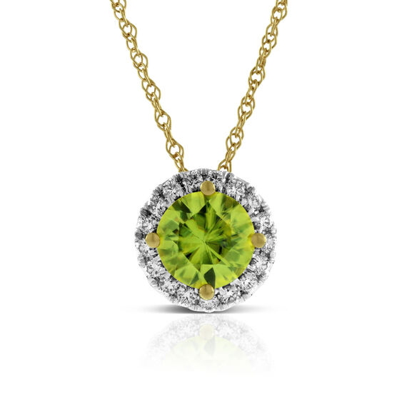 Sphene & Diamond Halo Pendant 14K