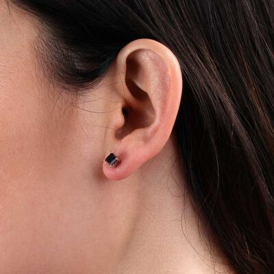Princess Cut Black Diamond Stud Earrings 14K