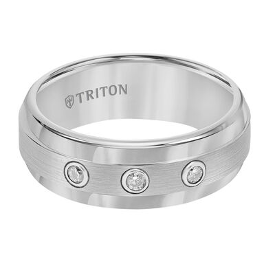 TRITON Stone Contemporary Comfort Fit Satin Finish Diamond Band in White Tungsten, 8 mm