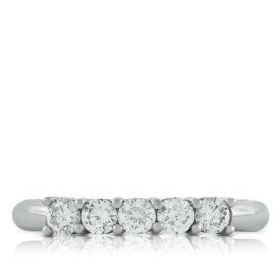 Diamond 5-Stone Band in Platinum, 1/2 ctw.